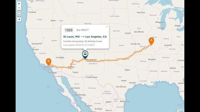 Sơ đồ cho thấy địa điểm xe buýt gặp nạn khi đang trên đường tới Los Angeles.