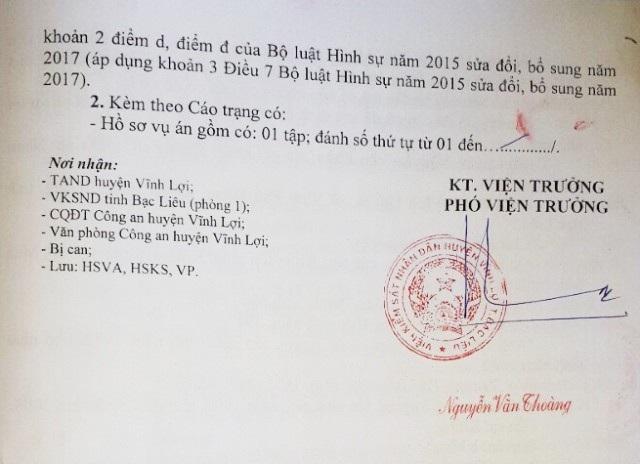 Viện KSND huyện Vĩnh Lợi ra cáo trạng truy tố ông Nguyễn Văn Phèn tội Cướp tài sản.