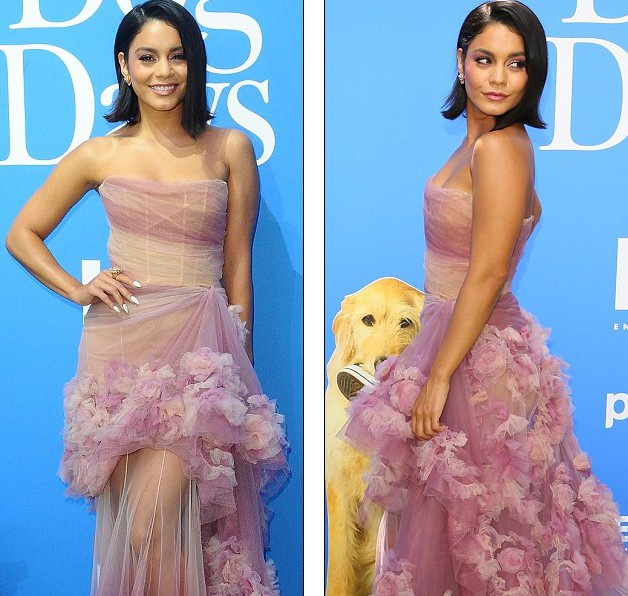 Vanessa Hudgens điệu đà như công chúa trong bộ váy Marchesa và sandal Giuseppe Zanotti