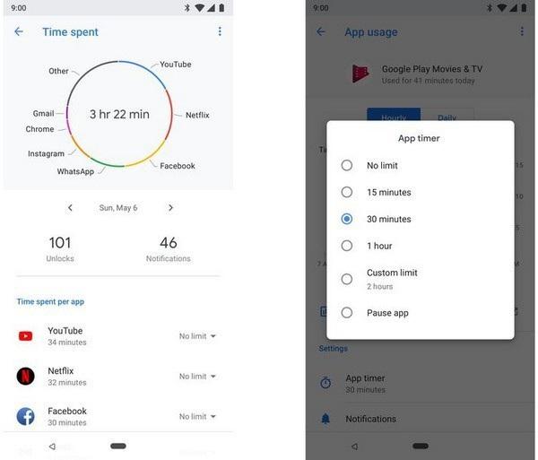 Android 9.0 Pie cho phép người thiết lập giới hạn thời gian sử dụng các ứng dụng trên thiết bị