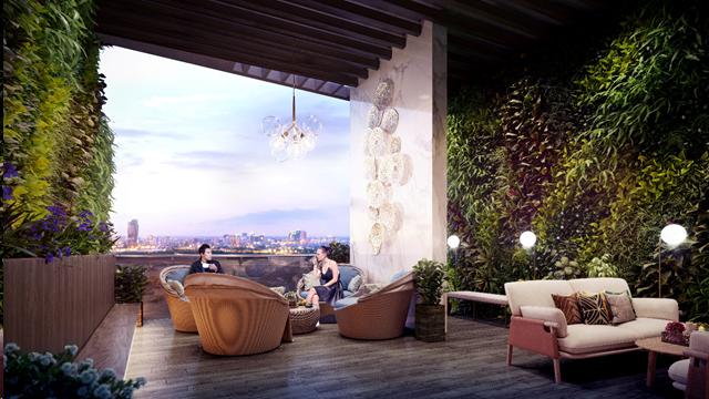 Vườn trên cao được thiết kế với những mảng xanh độc đáo mang lại không gian sống lý tưởng cho cư dân
