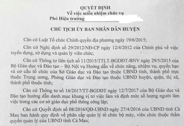 Một quyết định miễn nhiệm Phó Hiệu trưởng của UBND huyện Thới Bình (Cà Mau).