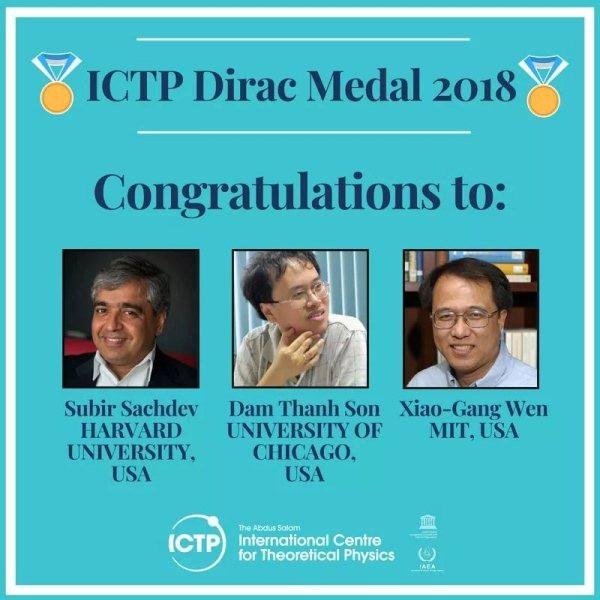 Trên trang web ICTP công bố 3 nhà vật lý được trao Huy chương Dirac 2018.