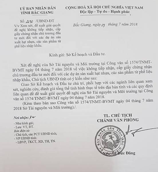 UBND tỉnh Bắc Giang giao Sở KH&ĐT xem xét đề nghị của Sở TN&MT Bắc Giang.