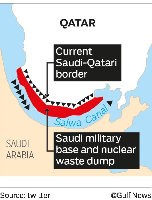 Ả-rập Xê-út tính đặt căn cứ quân sự và bãi thải hạt nhân ở phần màu đỏ, nằm sát cạnh Qatar (Đồ họa: Twitter)
