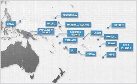 Các quốc đảo ở Nam Thái Bình Dương (Ảnh: Spruson.com)