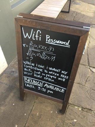 Những biển hiệu mật khẩu Wi-Fi tại quán cà phê thách đố khách hàng.