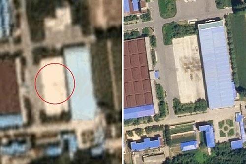 Hình ảnh so sánh cơ sở lắp ráp tên lửa ở khu vực Pyongsong từ giữa tháng 8 (bên phải) và đầu tháng 9 (bên trái). Khu vực khoanh tròn đỏ đã biến mất. (Ảnh: Yonhap)