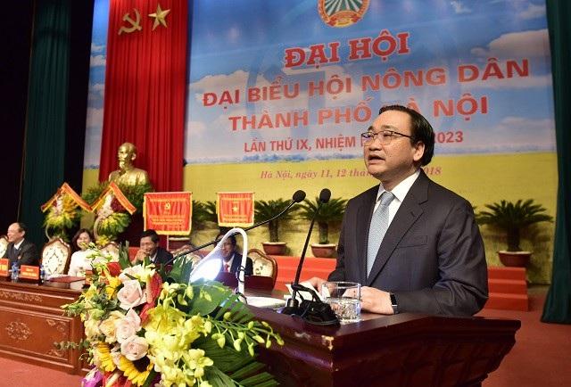 Ông Hoàng Trung Hải - Bí thư Thành ủy Hà Nội phát biểu tại đại hội (Ảnh: KTĐT)