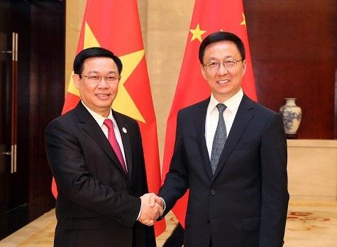 Phó Thủ tướng Vương Đình Huệ và Phó Thủ tướng Quốc Vụ viện nước Cộng hòa nhân dân Trung Hoa trong cuộc gặp ngày 11/9, tại Nam Ninh - Trung Quốc