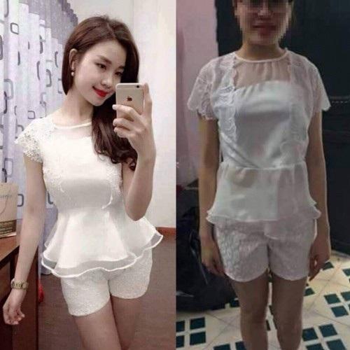 Bộ quần áo dù được shop quảng cáo là y hệt mẫu nhưng khi mặc lên người khách hàng thì không thể chấp nhận nổi