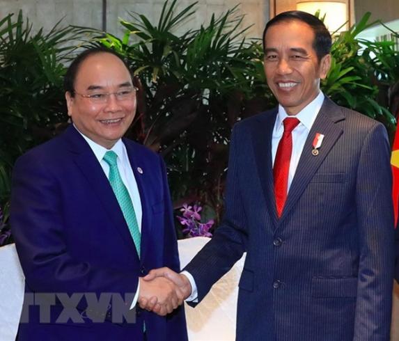 Thủ tướng Nguyễn Xuân Phúc hội kiến với Tổng thống Indonesia Joko Widodo (ảnh: TTXVN)