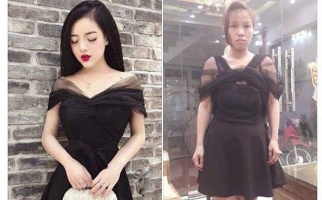 """Bỏ tiền ra mua bộ váy có giá 450 nghìn đồng, nhưng cô gái trẻ phải ấm ức """"nuốt cục tức"""" khi quảng cáo và thực tế khác xa nhau hoàn toàn. Trong khi váy mẫu có đường xếp ly ở ngực để tạo độ bồng cho vai thì chiếc váy thật lại như bị thắt nút ở giữa khiến cho những đường vải rủ hai bên vai trông thật vô duyên."""