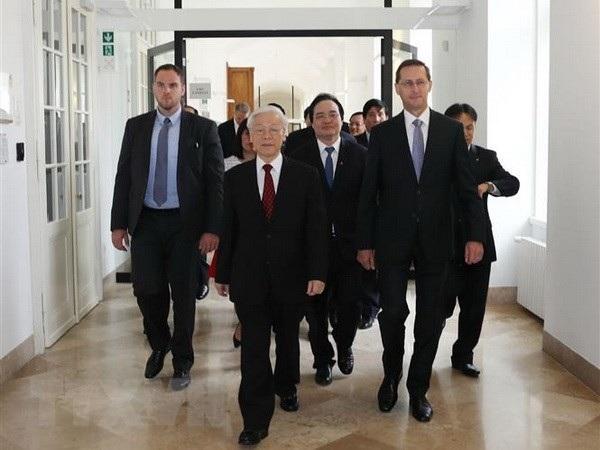 Tổng Bí thư Nguyễn Phú Trọng dự hội nghị Hiệu trưởng các trường đại học Việt Nam - Hungary (Ảnh: TTX)