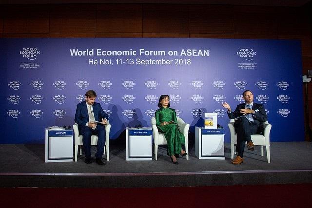 Bà Đinh Thị Quỳnh Vân, Tổng Giám đốc Công ty PwC Việt Nam, tham gia cuộc họp báo về Tương lai ASEAN - Thời khắc hành động.