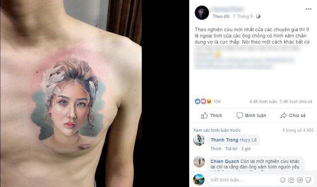 Bức ảnh hình xăm của anh Luân do thợ xăm đăng tải thu hút hàng chục ngàn lượt tương tác trên mạng xã hội