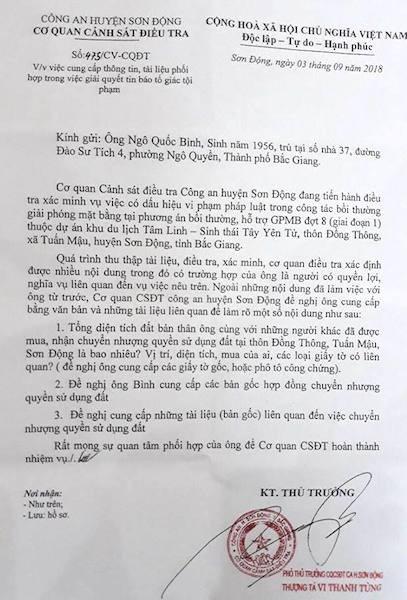 Công an vào cuộc điều tra vụ bồi thường cho dân xong đòi thu hồi lại tiền tại Bắc Giang.