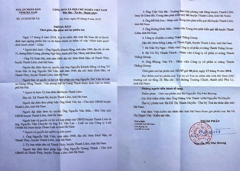 Đối thoại bất thành, Tòa mở lại phiên xét xử lần 4 vụ dân kiện UBND huyện - Ảnh 2.