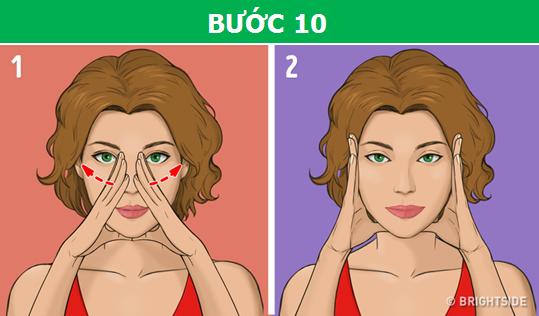 Đặt ngón cái ở dưới cằm và các ngón còn lại lên hai bên sóng mũi, sau đó, từ từ vuốt nhẹ từ trong ra ngoài.