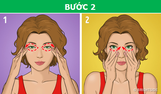 Dùng những ngón tay ấn nhẹ và từ từ di chuyển xung quanh hốc mắt theo vòng tròn như hình vẽ.