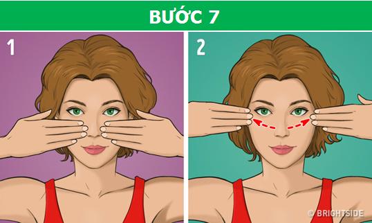 Đặt hay tay lên má sao cho đầu ngón tay chạm vào cánh mũi, rồi nhẹ nhàng vuốt ra hai bên mang tai.