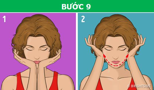 Đặt tay như hình trên và massage nhẹ nhàng dọc theo xương quai hàm từ cằm đến hai bên tai.