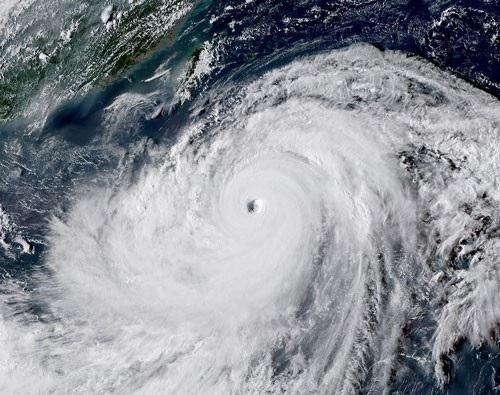 Hình ảnh siêu bão Mangkhut nhìn từ không trung Ảnh: CƠ QUAN KHÍ TƯỢNG NHẬT BẢN