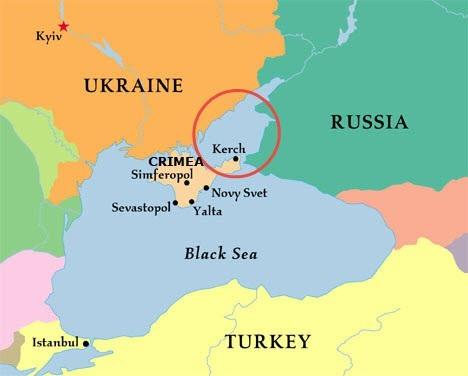 Biển Azov (khoanh tròn đỏ) nằm giữa bán đảo Crimea, Ukraine và Nga (Ảnh: RIA)