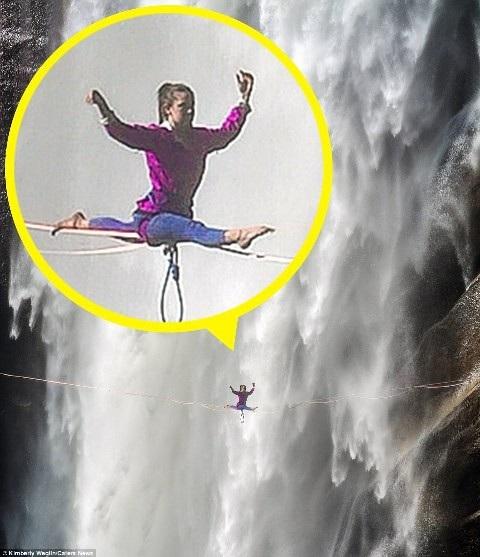 Hết hồn nhìn nghệ sĩ yoga biểu diễn trên dây vắt ngang thác nước - 5