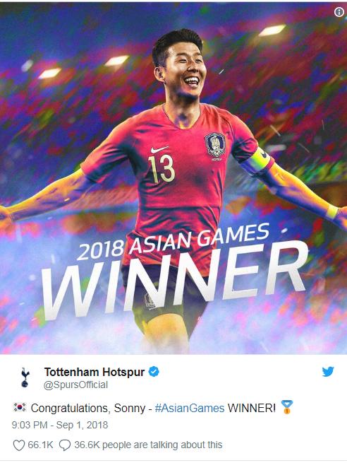 CLB Tottenham chúc mừng Son Heung Min