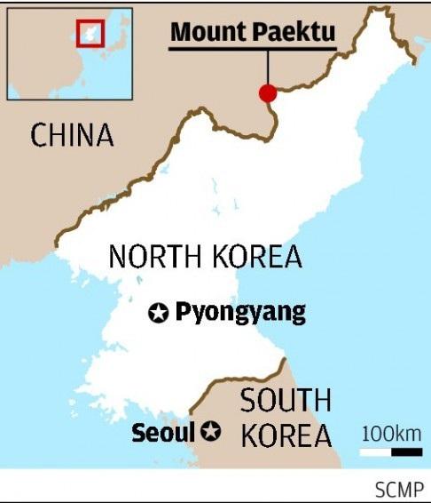 Núi Paekdu (hay còn gọi là Paektu) nằm trên biên giới giữa Triều Tiên và Trung Quốc, cách thủ đô Bình Nhưỡng khoảng 385km (Ảnh: SCMP)