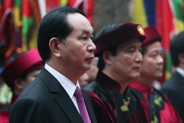 Chủ tịch nước Trần Đại Quang trong Lễ dâng hương tưởng niệm các Vua Hùng ngày giỗ Tổ năm 2017 (ảnh: Quý Đoàn)