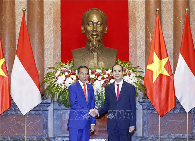 Ngày 11/9/2018, Chủ tịch nước Trần Đại Quang tiếp đón Tổng thống Indonesia Joko Widodo thăm cấp Nhà nước tới Việt Nam (ảnh: TTXVN)
