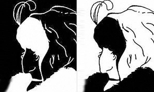 Ảnh trái khắc họa gương mặt người phụ nữ trẻ (màu đen) đang quay đi. Ảnh phải khắc họa gương mặt bà cụ (màu trắng) với chiếc mũi to và cằm nhọn đang cúi nhìn xuống.