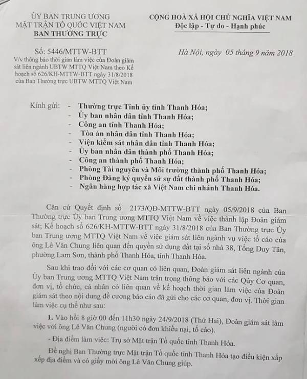 Trung ương MTTQ Việt Nam vào cuộc vụ 1 thửa đất cấp 4 sổ đỏ tại Thanh Hoá! - Ảnh 2.