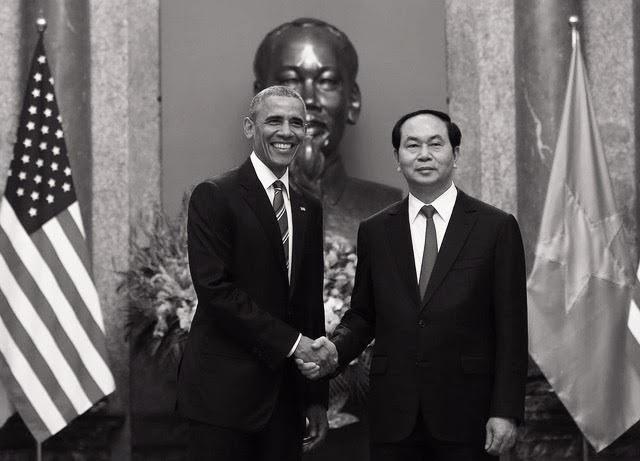 Chủ tịch nước Trần Đại Quang và Tổng thống Barack Obama trong chuyến thăm chính thức Việt Nam năm 2016 (ảnh: Quý Đoàn)
