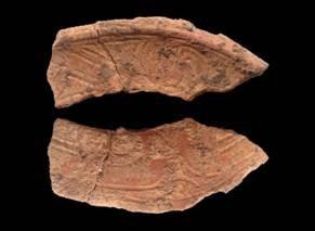 Hoa văn trên mảnh gốm thô ở Hoa Lộc (ảnh: Viện Khảo cổ học)