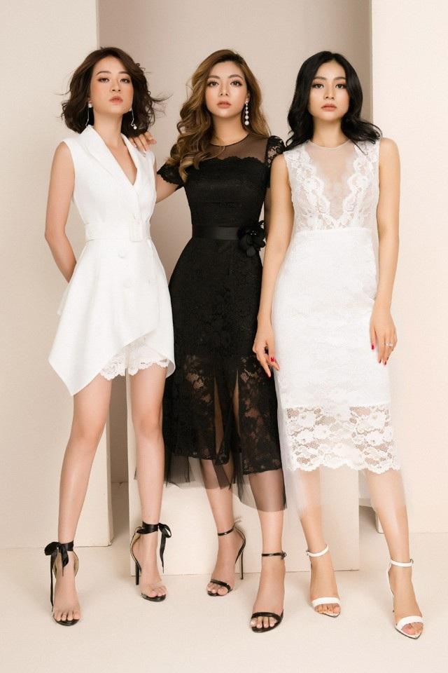 Dù là để mặt mộc hay trang điểm thì 3 cô nàng vẫn rất cuốn hút nhờ vào thần thái. Bộ 3 hot girl đã tôn lên vẻ đẹp hình thể với những bộ trang phục sử dụng gam màu đen, trắng, nude hồng, red rực rõ và form váy ngắn cổ điển little black dress.