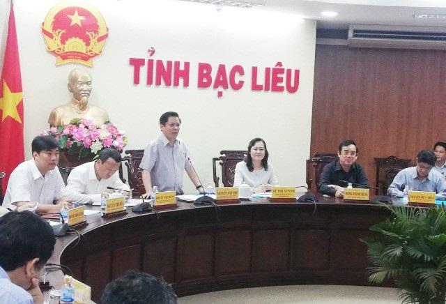 Bộ trưởng GTVT Nguyễn Văn Thể phát biểu tại buổi làm việc với tỉnh Bạc Liêu sáng ngày 25/9.