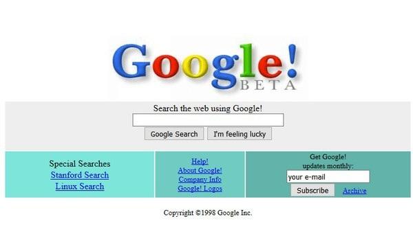Giao diện trang web thử nghiệm của Google năm 1998