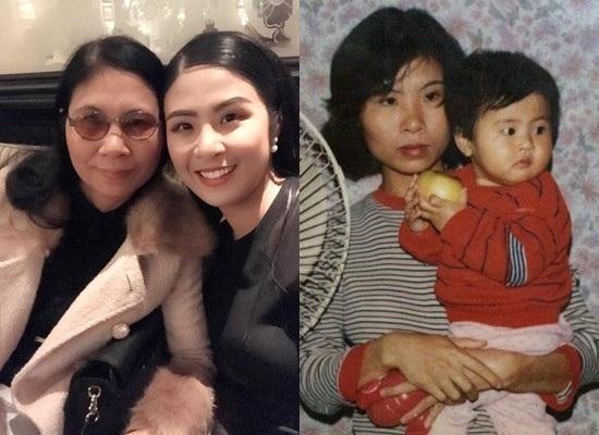 Ngọc Hân và mẹ khi cô còn nhỏ và hiện tại.