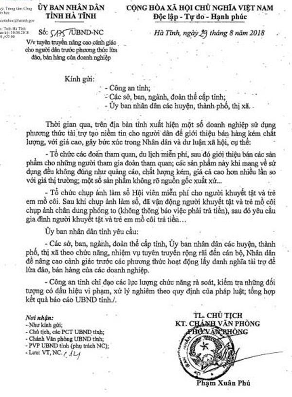 Công văn chỉ đạo của Chủ tịch UBND tỉnh ngăn chặn việc lợi dụng tri ân, tài trợ để bán sản phẩm thu lợi gây bức xúc trong nhân dân