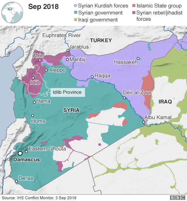 Idlib được coi là thành trì cuối cùng của phiến quân ở Syria. (Đồ họa: BBC)