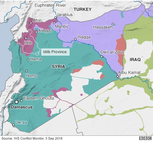 Bản đồ khu vực Idlib tại Syri (Ảnh: BBC)