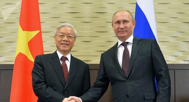 Tổng Bí thư Nguyễn Phú Trọng và Tổng thống Nga Vladimir Putin trong cuộc hội đàm tại Sochi tháng 11/2014 (Ảnh: Sputnik)
