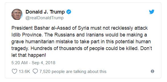 Tổng thống Trump cảnh báo quân đội Syria không tấn công Idlib. (Ảnh: Twitter)