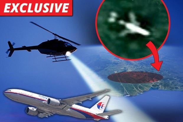 Chuyên gia công nghệ Anh nghi ngờ rằng MH370 đang nằm ở một khu rừng tại Campuchia. Ảnh của Daily Star mô phỏng giả thuyết này.