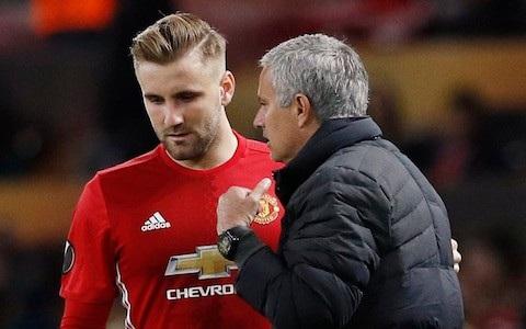 Mối quan hệ giữa HLV Jose Mourinho (phải) và Luke Shaw (trái) không tệ như mọi người lầm tưởng