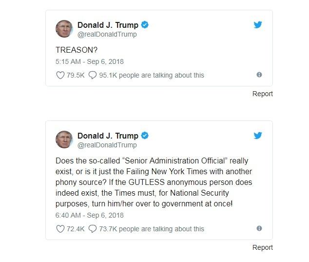 Tổng thống Trump phản ứng trên Twitter, yêu cầu New York Times cung cấp danh tính tác giả bài viết.