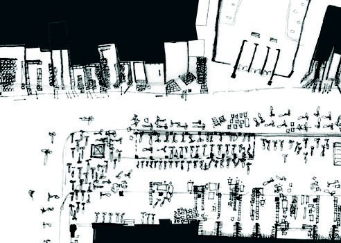 Một bản vẽ hiện trạng không gian đường phố và các phương tiện giao thông, hoạt động thương mại… trên địa bàn quận Hoàn Kiếm năm 2014 do các sinh viên Pháp thực hiện trong một hoạt động hợp tác với UBND quận Hoàn Kiếm khi đó
